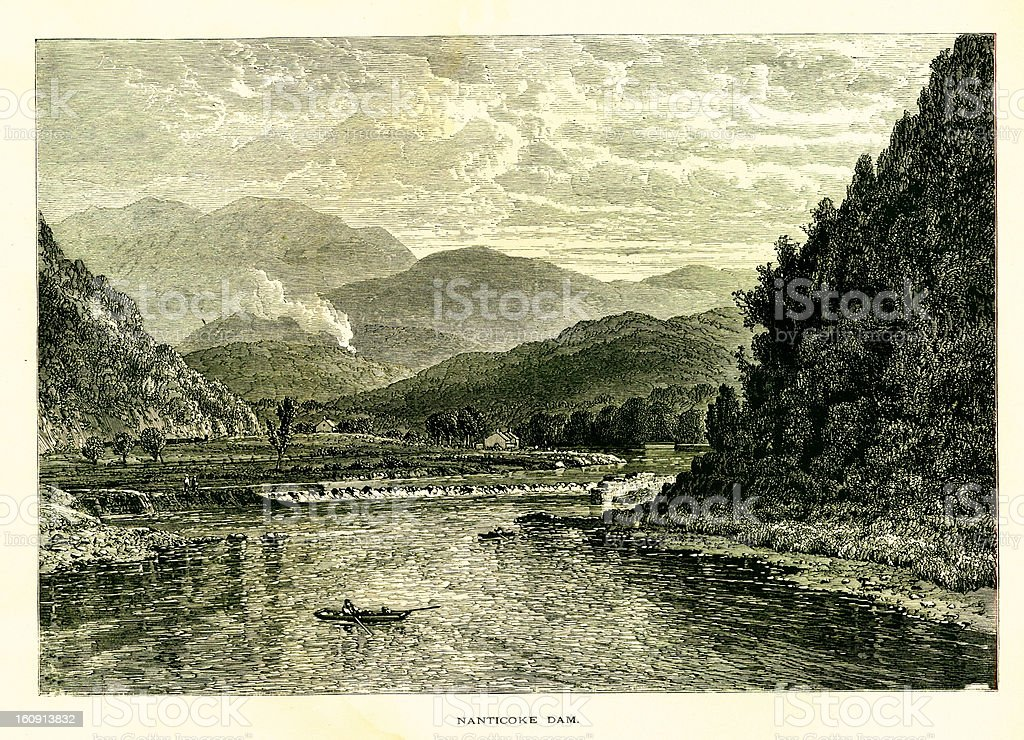 Nanticoke Dam, Pennsylvania vector art illustration