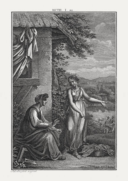 naomi laments her fate (ruth 1), copperplate engraving, published c.1850 - ruth stock illustrations