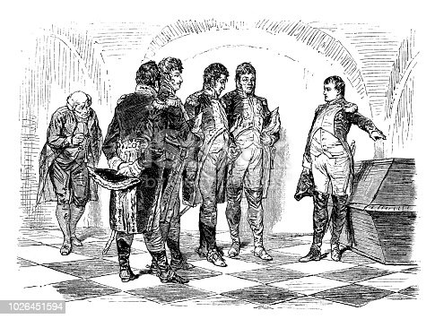 Illustration of a Napoleon at the Tomb of Frederick the Great. Crypt of Garrison Church, Potsdam