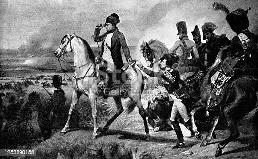 Napoleon at Wagram by Emile Jean Horace Vernet (circa 19th century). Vintage etching circa late 19th century.