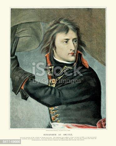 Vintage engraving of Napoleon Bonaparte at the Battle of Arcole