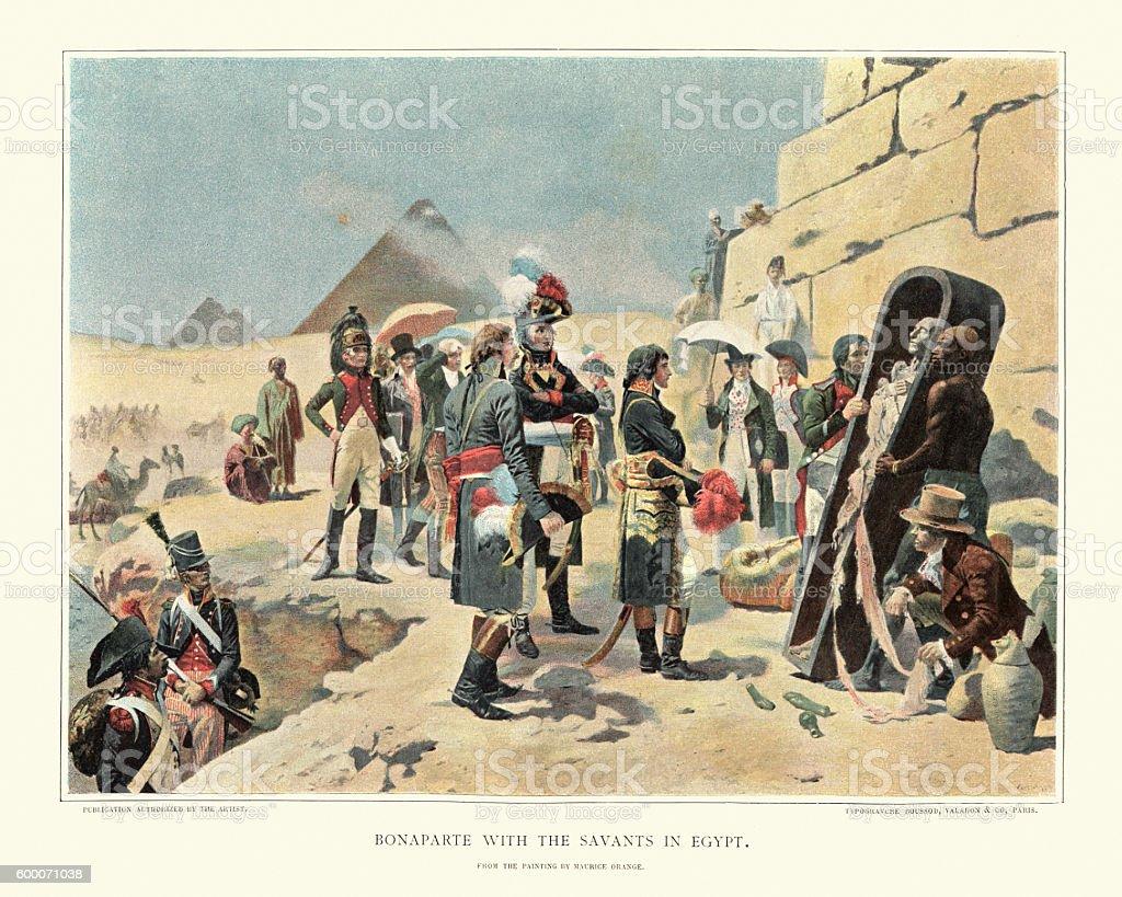 Napoleon Bonaparte in egypt viewing a egyptian mummy vector art illustration