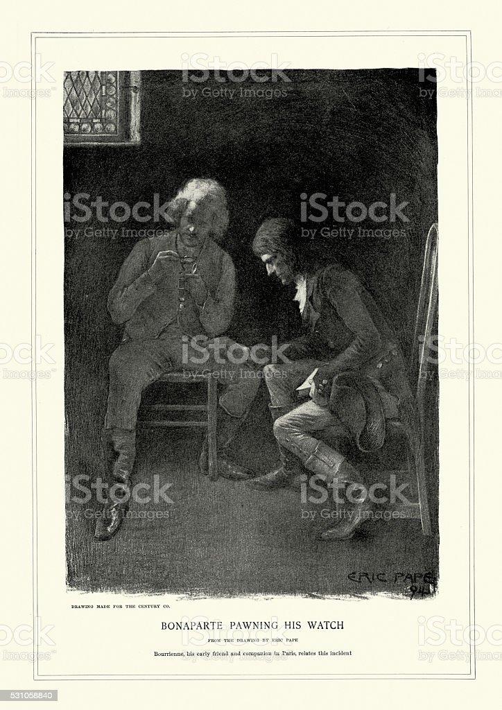 Napoleon Bonaparte pawning his watch vector art illustration