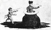 Napoleon is in trouble: standing in an ink well