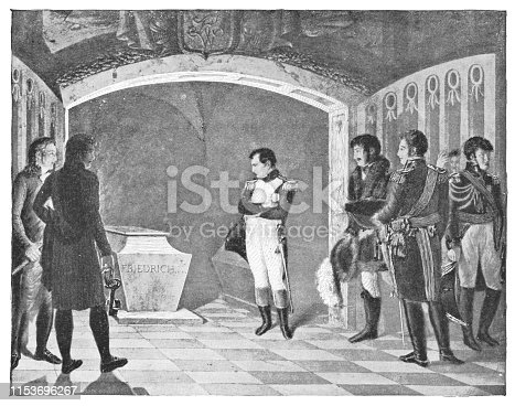 Napoleon Meditating on the Coffin of Frederick II of Prussia in the Crypt of the GarnisonKirche in Potsdam by Marie-Nicolas Ponce-Camus (circa 19th century). Vintage halftone etching circa late 19th century.
