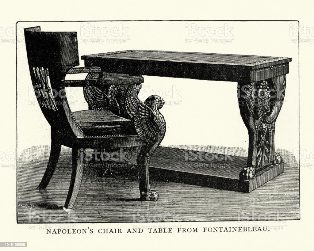 Napoleons Stuhl Und Tisch Von Fontainebleau Stock Vektor Art Und