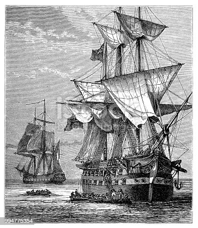 Illustration of a Napoleon's embarkation on the Northumberland