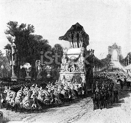 Napoleon's funeral carriage passes along the Champs-Élysées in Paris, France by Louis-Julien Jacottet. Vintage etching circa mid 19th century.