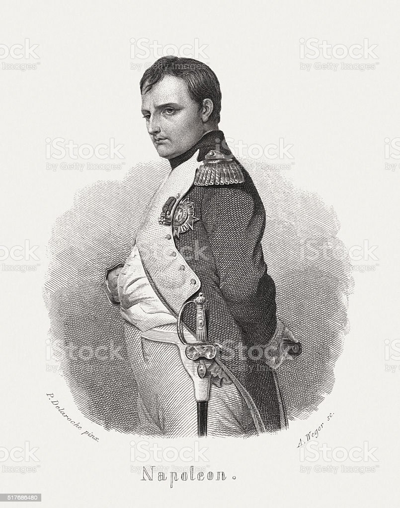 Napoléon Bonaparte (1769-1821), steel engraving, published in 1868 vector art illustration