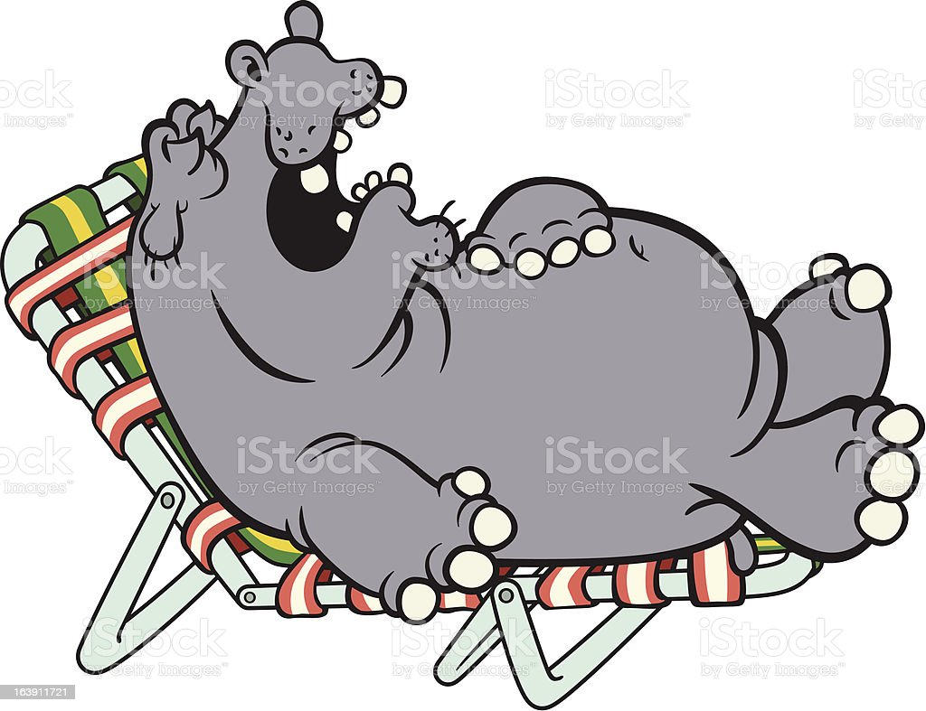 Napping Hippo royalty-free napping hippo stock illustration - download image now