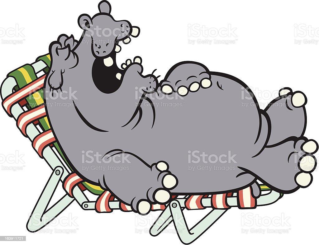 Napping Hippo vector art illustration
