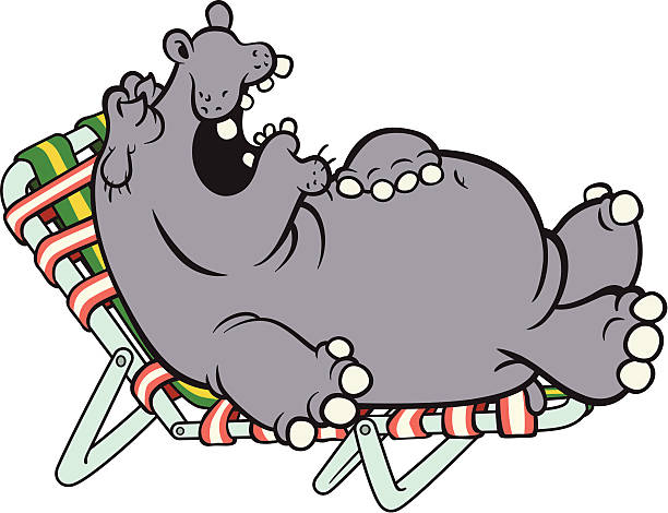 Napping Hippo vector art illustration