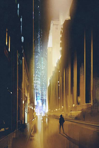 bildbanksillustrationer, clip art samt tecknat material och ikoner med narrow street at night,painting - gränd