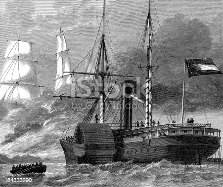 Vintage engraving from 1878 showing the CSS Nashville destroying a federal merchantman duriing the American Civil War