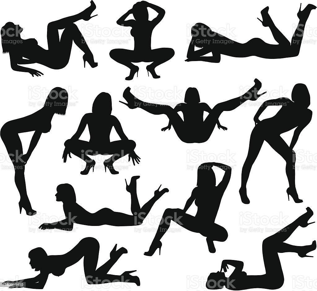 nasty girls vector art illustration