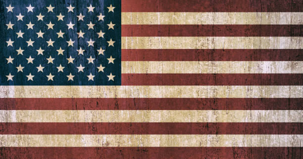 USA National Flag Background In Vintage Style Vector Art Illustration