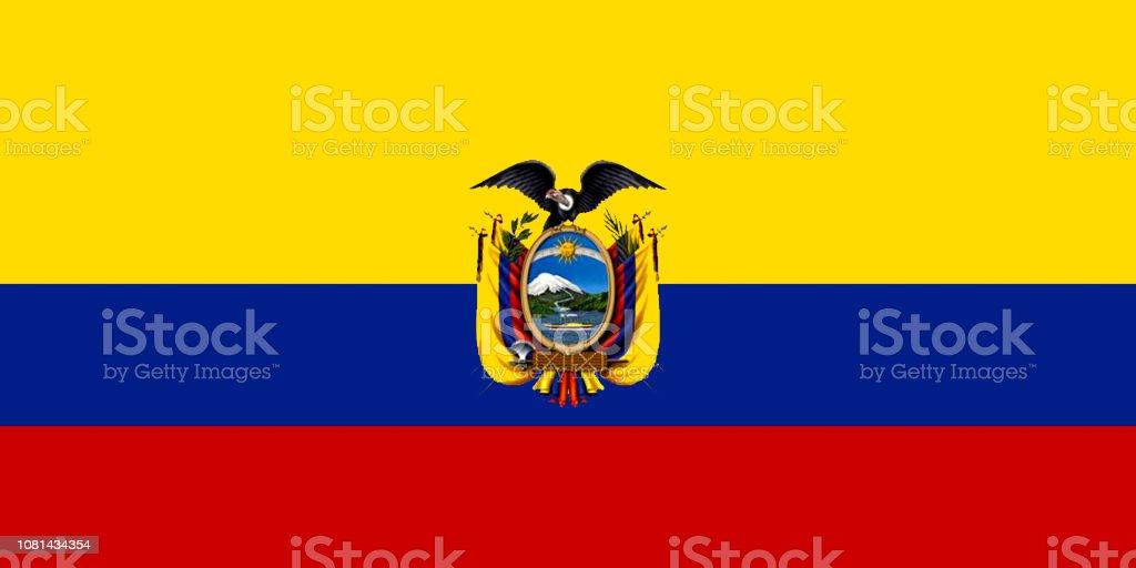 National flag of Ecuador. vector art illustration