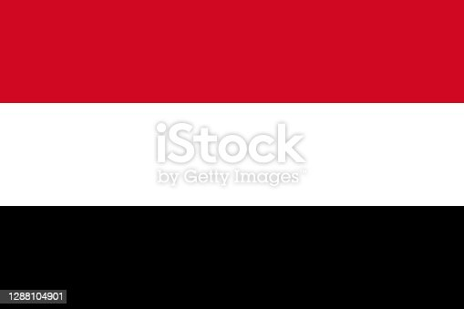 istock National flag of the Yemen. The main symbol of an independent country. An attribute of the large size of a democratic state illustration. 1288104901