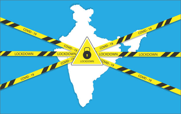 stockillustraties, clipart, cartoons en iconen met nationale lockdown in india als gevolg van coronavirus ziekte covid-19 - lockdown