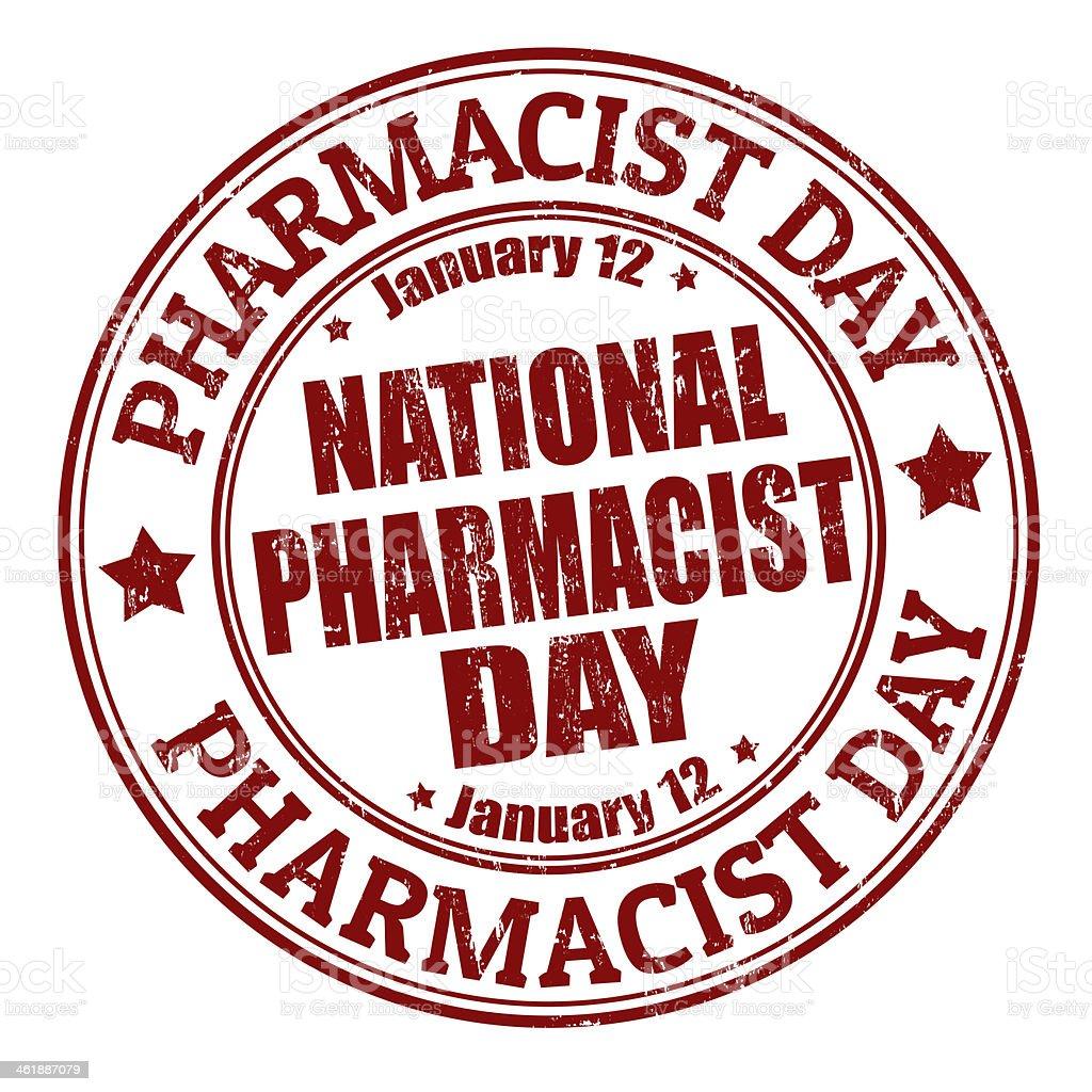National pharmacist day stamp vector art illustration