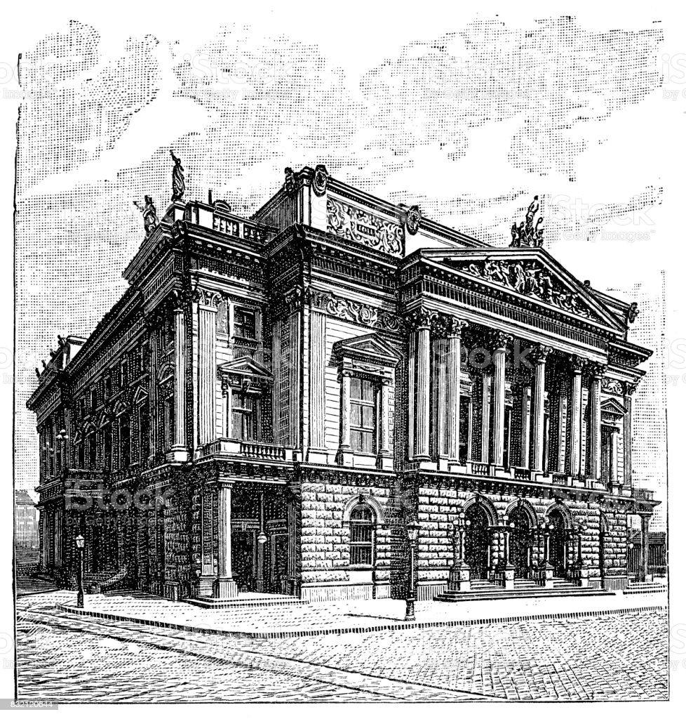 National theater , Budapest vector art illustration