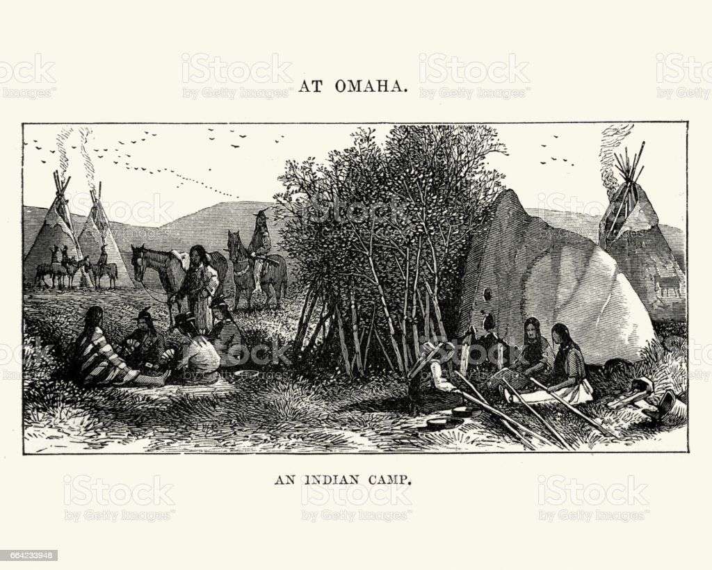 Native American Camp At Omaha Nebraska 19th Century Stock Vector Art