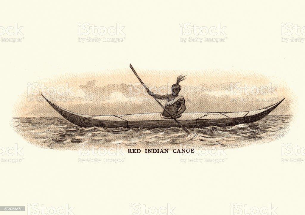 Native American Canoe 19th Century Royalty Free Stock Vector