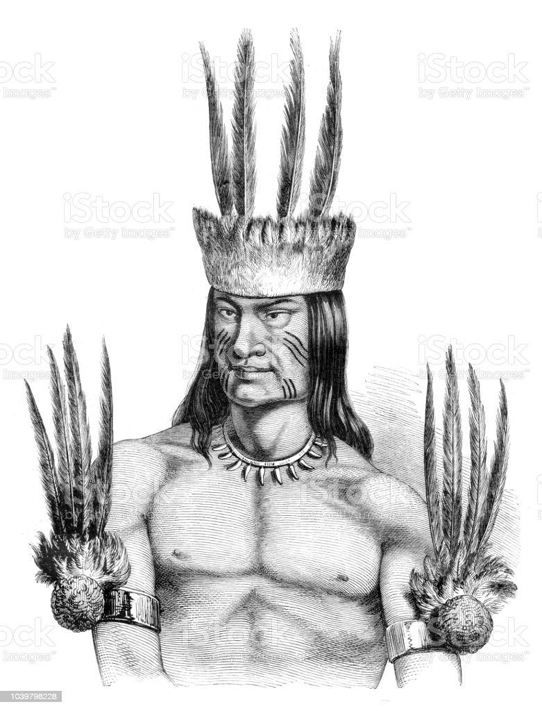 Native american from Tribe Tikúna at amazon region in Brazil vector art illustration