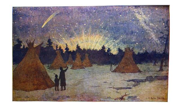 bildbanksillustrationer, clip art samt tecknat material och ikoner med native american indian illustrationer - kåtor under norrsken - wigwams - illustration - northern lights
