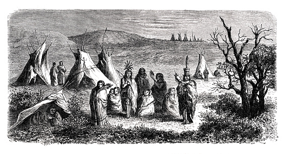 Native american indian sioux camp 1864 Original edition from my own archives Source : Tour du monde 1864 Drawing: D.Lancelot after M.E. Girardin