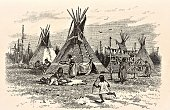 Native American Indian women work and children play in front of teepees. Wild West. Illustration published in First Lessons in Our Country's History by William Swinton, A.M. (Ivison, Blakeman, Taylor, & Company, New York and Chicago) in 1872.