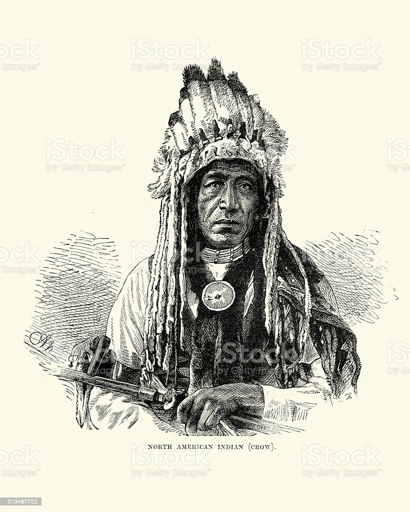 Native American of the Crow Tribe, 19th Century vector art illustration