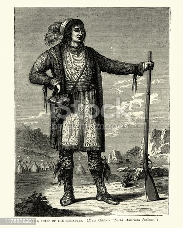 Vintage engraving of Osceolam, Chief of the Seminole people, 19th Century. Osceola (1804 – January 30, 1838, Asi-yahola in Creek), named Billy Powell at birth in Alabama, became an influential leader of the Seminole people in Florida.