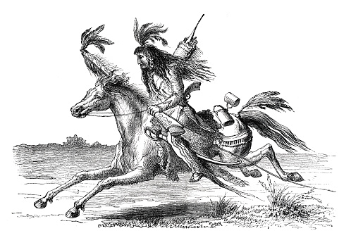 Native american riding on horse 1864