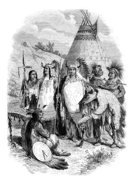 Tribo de nativos americanos Sioux dançando xamanismo - ilustração de arte em vetor