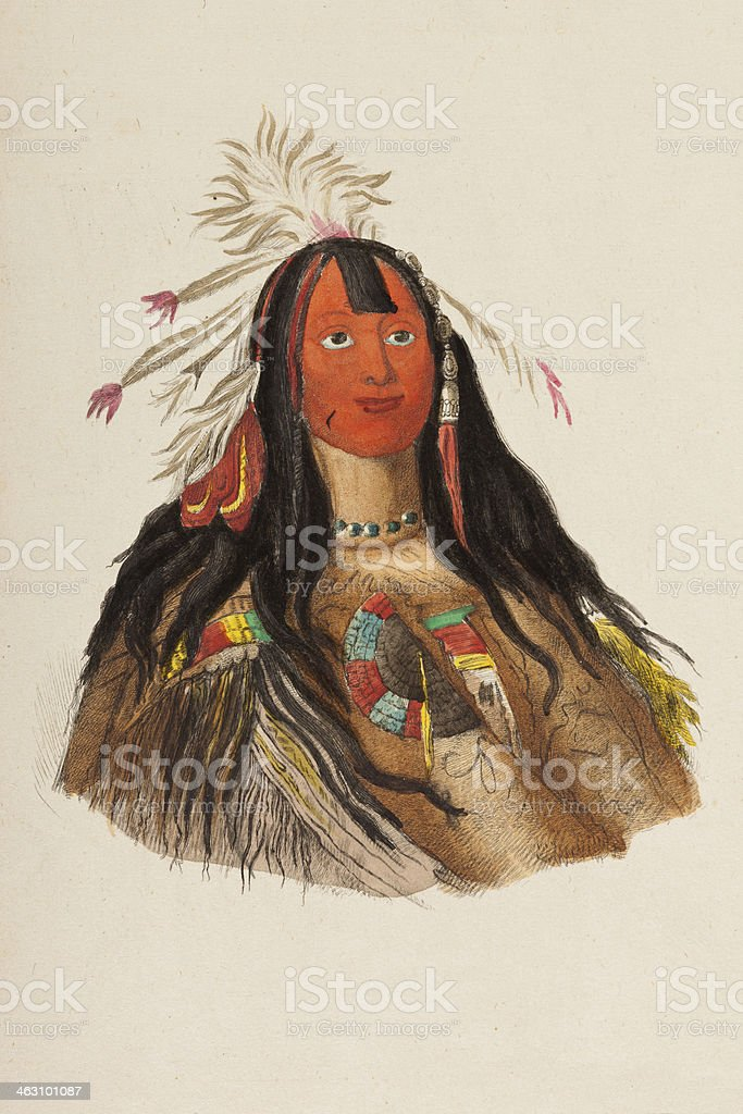 Native american tribal chief from 1849 royalty-free stock vector art