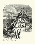 Vintage engraving of a Native American Wigwam, 19th Century.