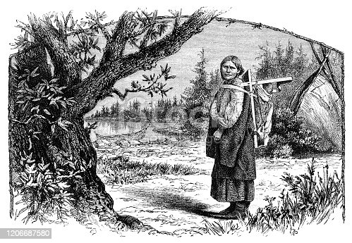 """A native American woman carrying a baby - a papoose - on her back. From """"Sunday at Home - A Family Magazine for Sabbath reading, 1883"""", published by the Religious Tract Society, London."""
