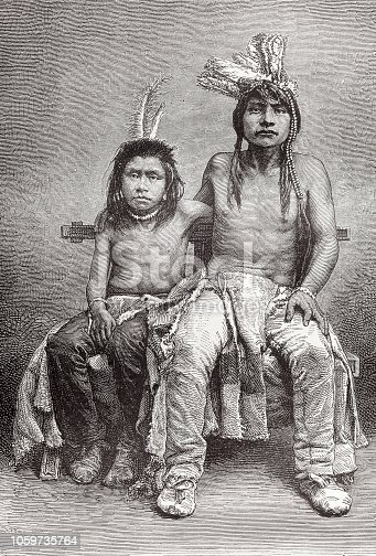Steel engraving young native americans at Mission Santa Clara, California, United States of America, Original edition from my own archives Source : Spamer Konversationslexikon A 1870 Drawing : Etienne Ronjat - Graveur : Hildibrand