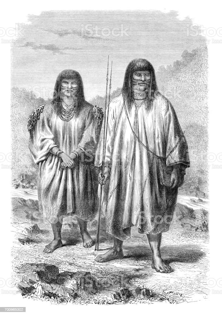 Native americans from the tribe Antis in Peru 1864 vector art illustration
