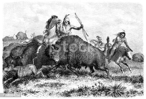 Native americans hunting buffalos with bow and arrow 1862 Original edition from my own archives Source :