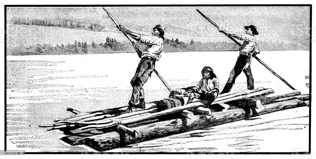 Native Americans on a Yukon River vector art illustration