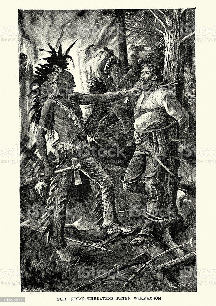 Native Americans threaten Peter Williamson vector art illustration