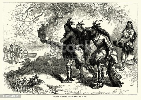 Vintage engraving of Native Americans trading beaver skins with colonists, 18th Century