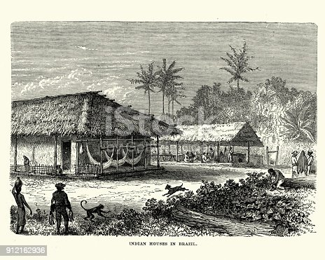 Vintage engraving of Native Indian houses in Brazil, 19th Century