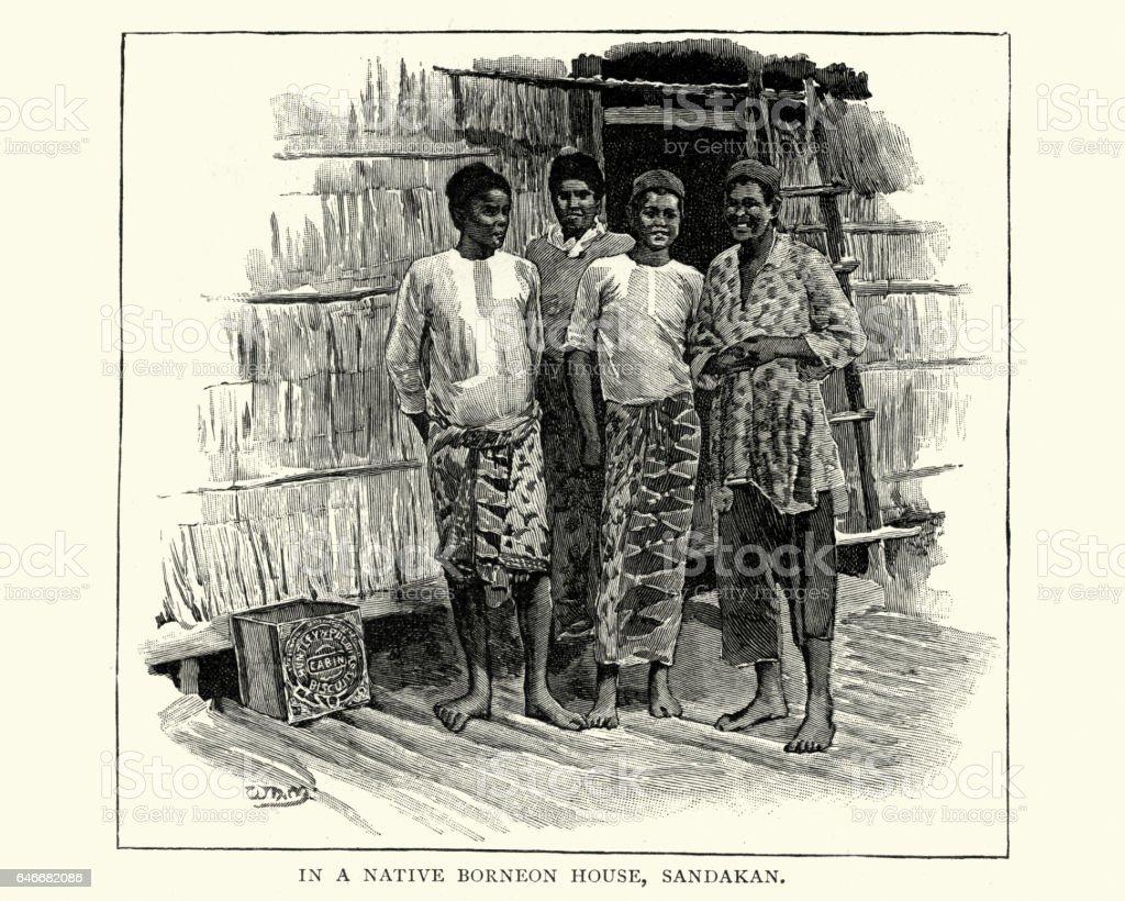 Native of Sandakan, 19th Century vector art illustration