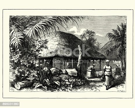 Vintage engraving of Native village and house, Jamaica, 19th Century
