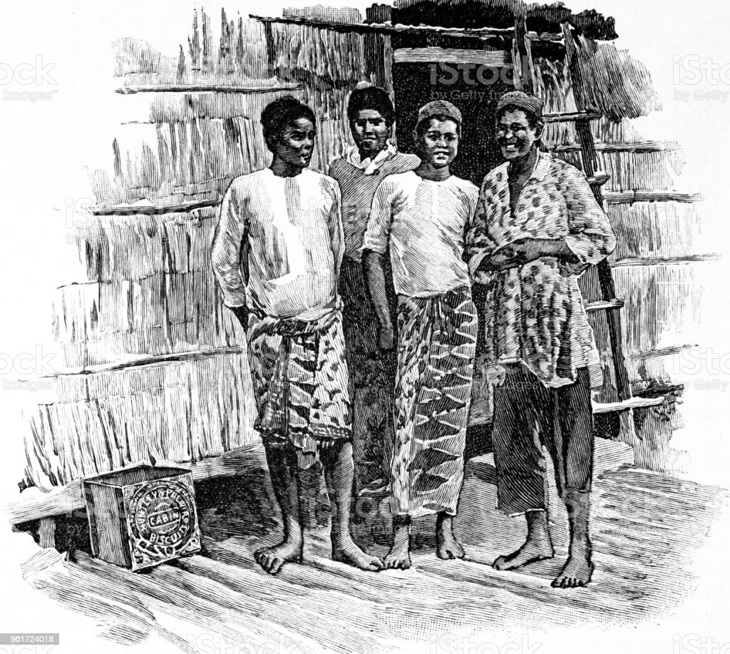 Native workers in Borneon House, Sandakan from Biscuit Town 'Reading, UK' vector art illustration