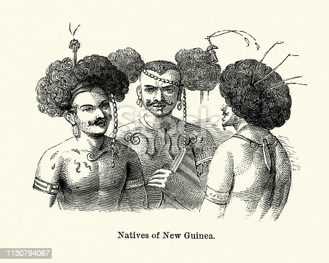 Vintage engraving of Natives of New Guinea, 19th Century