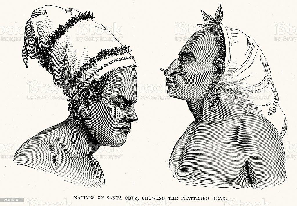 Natives of Santa Cruz royalty-free stock vector art